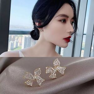 New Temperament Crystal Bow Earrings Women's